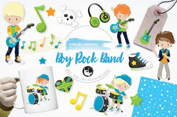 Boy Rock Band Illustration Pack
