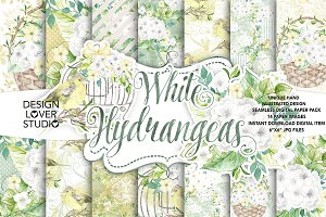 Watercolor White Hydrangea DP pack