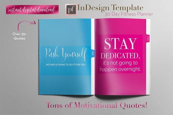 Fitness Planner | InDesign Template ~ Templates ~ Creative Market