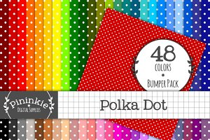 48 Polka Dot Digital Papers 12x12