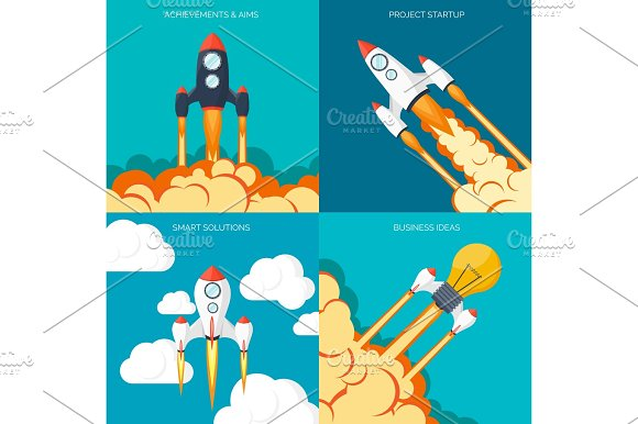 Flat Rocket Icon Startup Concept Project Development