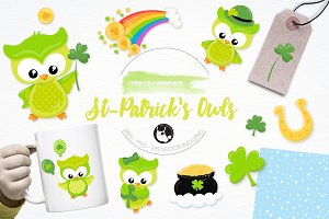 St-Patrick's owls illustration pack