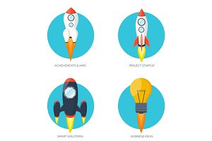 Flat rocket icon. Startup concept. Project development.