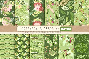 GREENERY BLOSSOM digital papers