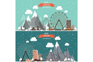 Vector illustration. Winter urban landscape. City with snow. Christmas and new year. Cityscape. Buildings.Mountaines, nature. Ferris wheel, park.