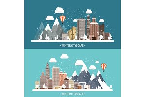 Vector illustration. Winter urban landscape. City with snow. Christmas and new year. Cityscape. Buildings.Mountaines, nature.