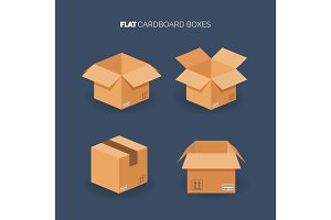 Vector set. Flat carton box. Delivery and packaging. Transportation, shipping.