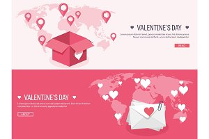 Vector illustration. Flat background with envelope and box. Love, hearts. Valentines day. Be my valentine. 14 february. Message.