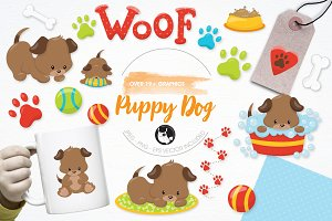 Puppy dog illustration pack