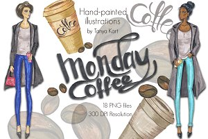 Coffee Fashion Hand-painted Clipart