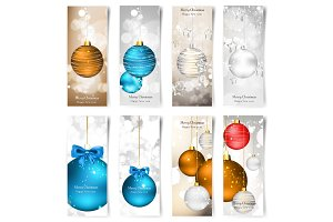 Vector illustration. Set with Christmas greeting cards. New year. Celebration. Balls.