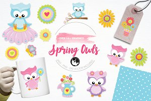 Spring owls illustration pack