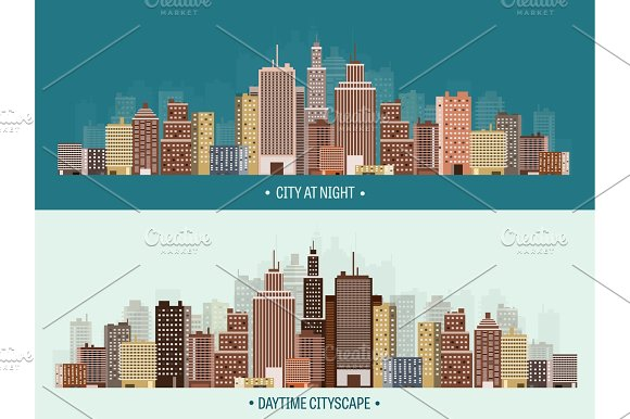 Vector Illustration Set Of City Silhouettes Cityscape Town Skyline Panorama Midtown Houses Skyscrapers