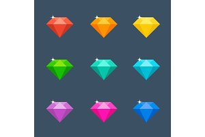 Vector illustration. Flat diamond with shadow. Crystal.