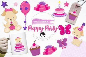 Puppy party illustration pack