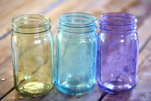 Vintage colorful mason jars