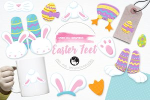Easter feet illustration pack