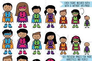 Superhero Stick Figures Clipart