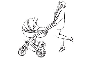 Young mom with carriage. Sketching.