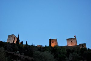 Towers of Alhambra at sunset