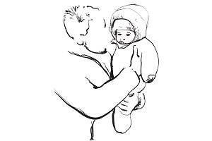Young father with baby. Sketching