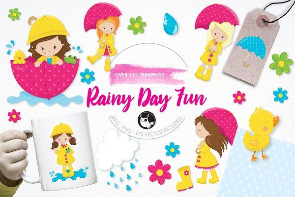 Rainy day fun illustration pack