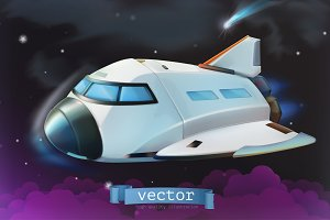 Space shuttle. Vector icon 3d