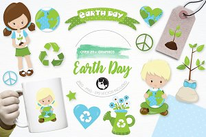 Earth day illustration pack