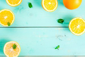 Background with citrus & mint