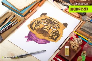 Hipster Tiger illustration