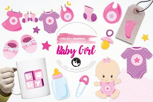 Baby girl illustration pack