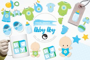 Baby boy illustration pack