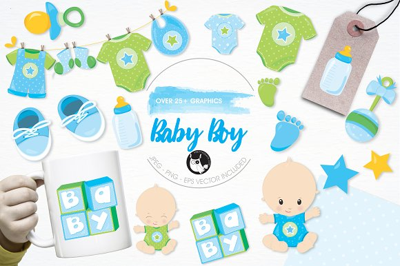 Baby Boy Illustration Pack