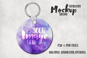 Round sublimation keychain mockup