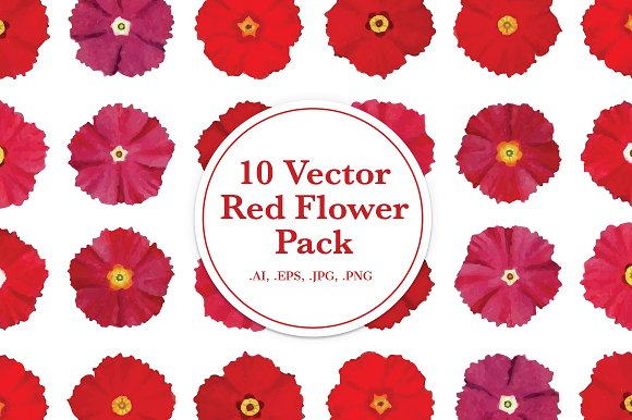 10 Vector Red Flower Pack