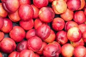 Red nectarines on display