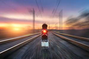 Railroad with motion blur effect
