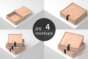 Wooden Boxes Mockup - 4 jpg files