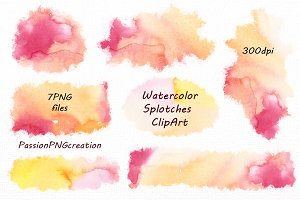 Watercolor Splotches Clipart