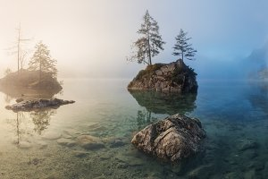 Lake Hintersee. Foggy morning TIF
