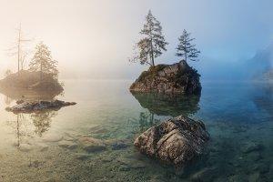 Lake Hintersee. Foggy morning Web