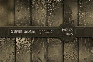 Sepia Glam digital paper