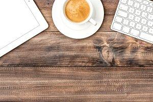 Office desk Tablet Keyboard Coffee