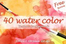 40 Watercolor Textures + Free bonus
