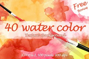 40 Watercolor Textures + Free bonus