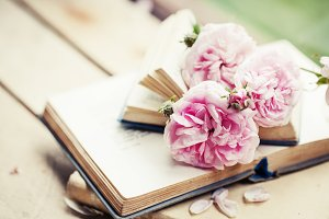 Roses and old books