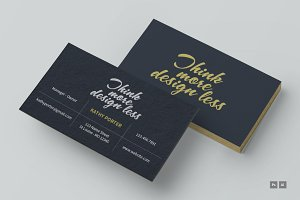 Think more design less business card
