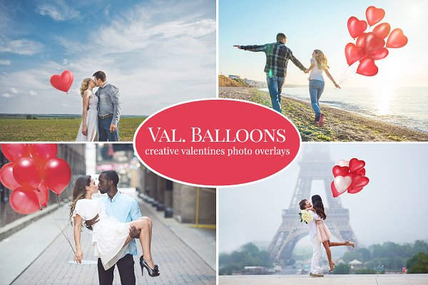 Valentines Balloons photo overlays