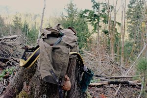 Open Bushcraft Backpack on a Stump