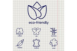 Eco-friendly fabric feature icons